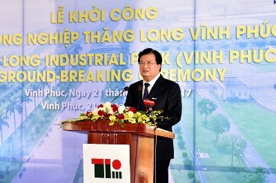 Deputy PM Trinh Dinh Dung at the ground-breaking ceremony. Photo: VGP/Nhat Bac