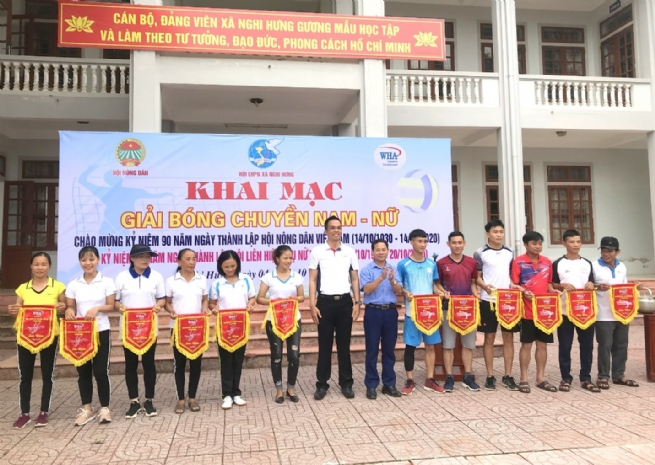 WHA Sponsors volleyball tournament in Nghi Hung commune