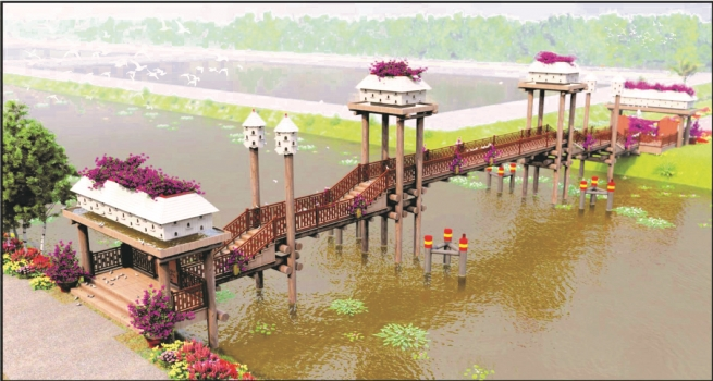 Kieu Bridge Adorns Natural Beauty of Tra Su Melaleuca Forest
