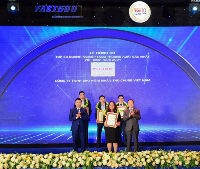 """Chubb Life Vietnam Listed in """"Top 50 Vietnam Best Growth"""" 2021"""